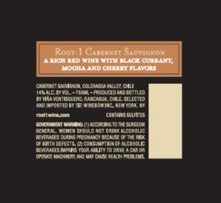 Root:1 Cabernet Sauvignon NV Back Label