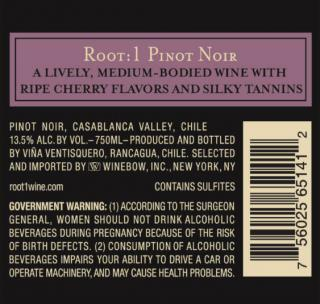 Root:1 Pinot Noir NV Back Label