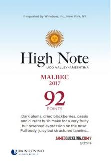 High Note Malbec 2017 Shelf Talker (92 Points - James Suckling)