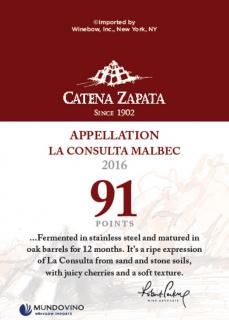 Catena Appellation La Consulta Malbec 2016 Shelf Talker - WA 91