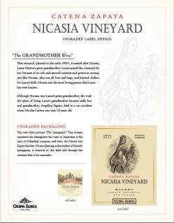 Catena Zapata Nicasia New Label Sell Sheet (with acclaim)