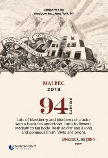 Catena Malbec 2018 Shelf Talker (94 Points - JS)
