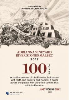 Adrianna River Stones Malbec 2017 Shelf Talker (100 Points - JS)