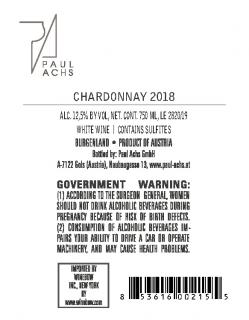 Paul Achs Chardonnay Back Label