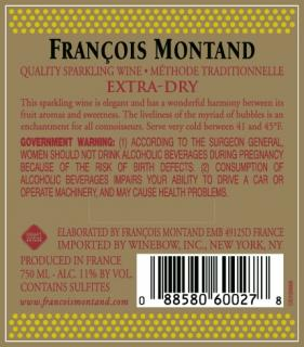 Francois Montand Extra Dry Back Label