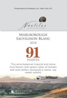 Nautilus Sauvignon Blanc 2018 Shelf Talker (91 Points - Wine Enthusiast)
