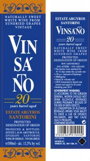 Vinsanto Aged 20 Year Label