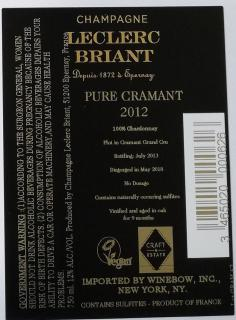 Pure Cramant Back Label